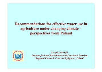 Recommendations for effective water use in agriculture ... - adagio