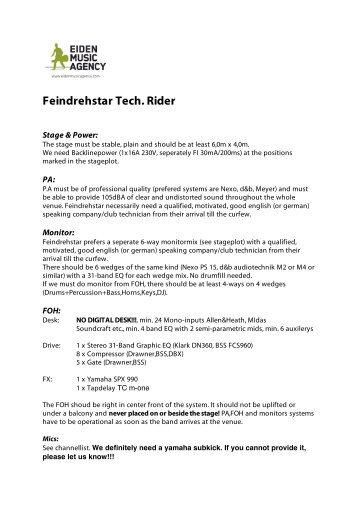 tech rider - DJ MISTERE