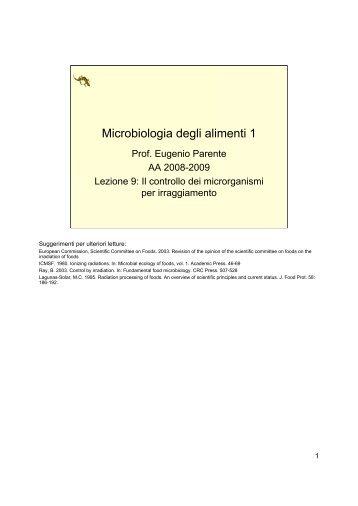 Microbiologia degli alimenti 1 - Università degli Studi della Basilicata