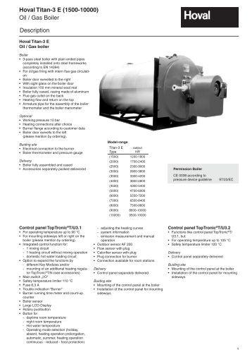 Oil / Gas Boiler Hoval Titan-3 E (1500-10000) Description