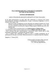 Qui di seguito sono prelevabili la lettera di invito - Polo Universitario ...