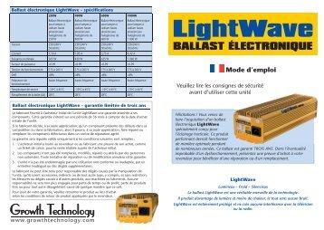 GT1053 LightWave Digital Ballast instructions - French.indd