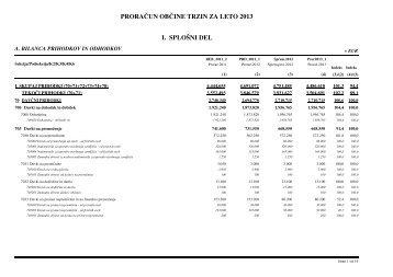 Proračun Občine Trzin za leto 2013 - splošni del