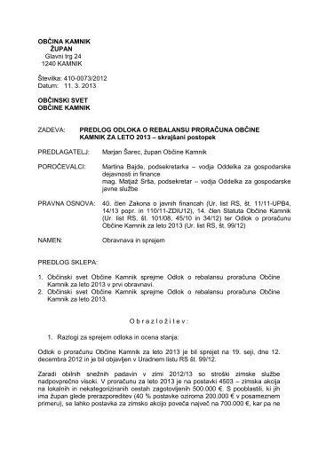 Predlog Odloka o rebalansu proračuna Občine Kamnik za leto 2013