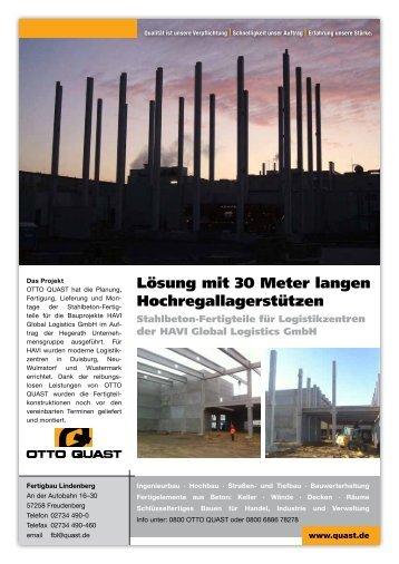 Lösung mit 30 Meter langen Hochregallagerstützen - OTTO Quast