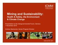 Mining and Sustainability: Health & Safety, the Environment ...