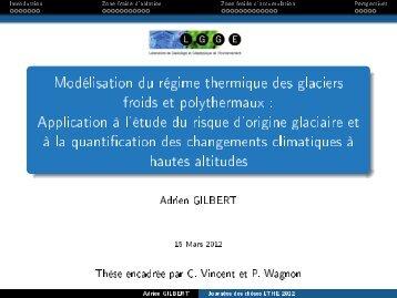 Modélisation du régime thermique des glaciers froids et ... - LTHE