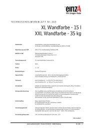XL Wandfarbe - 15 l XXL Wandfarbe - 35 kg - einzA