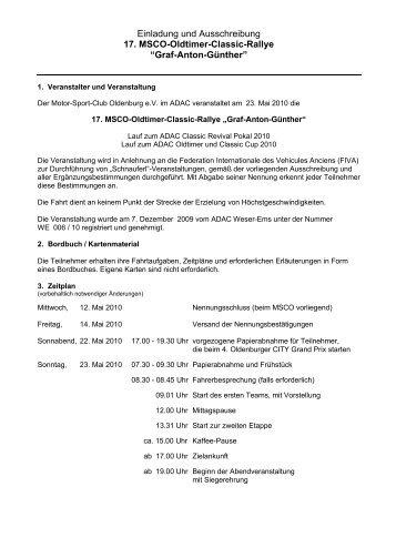 Einladung und Ausschreibung 17. MSCO-Oldtimer-Classic-Rallye ...