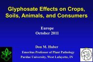 Glyphosate Effects on Crops, Soils, Animals, and Consumers