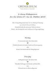 Mittagsmenüs 07. – 12.10.2013 - Grüner Baum Merzhausen