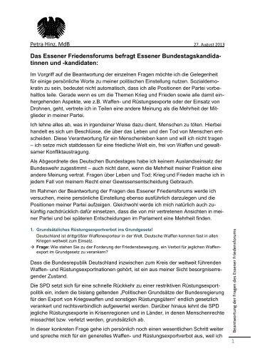 Petra Hinz, MdB 1 Das Essener Friedensforums befragt Essener ...
