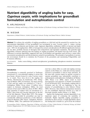 Nutrient digestibility of angling baits for carp, Cyprinus carpio ... - IGB