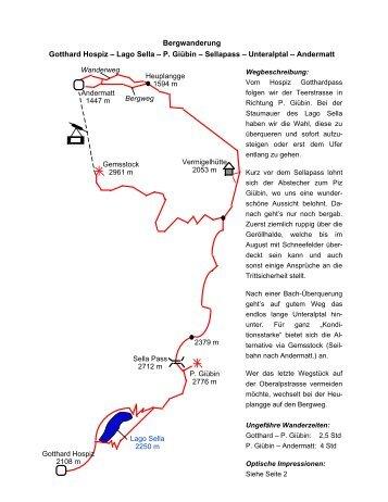 Lago Sella – P. Giübin – Sellapass – Unteralptal – Andermatt