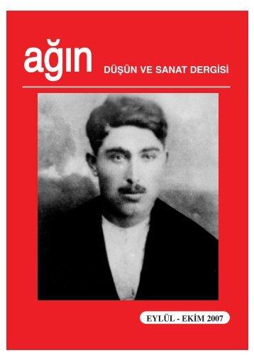 düşün ve sanat dergisi eylül - ekim 2007 - Ankara Ağın Derneği