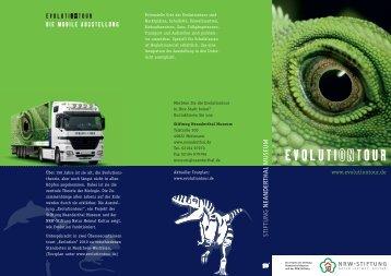 """Flyer zur Containerausstellung """"Evolutiontour"""" - Schloss Homburg"""