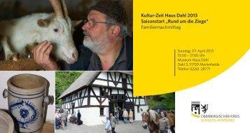 """Kultur-Zeit Haus Dahl 2013 Saisonstart """"Rund ... - Schloss Homburg"""