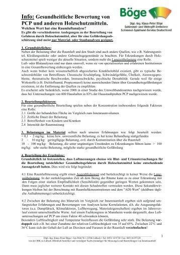 Info: Gesundheitliche Bewertung von PCP und anderen ...