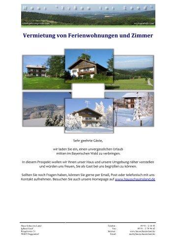 Vermietung von Ferienwohnungen und Zimmer - Haus Schau ins ...
