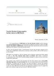 Von der Heyden Group acquires further shares in IBB Hotels! (.pdf)