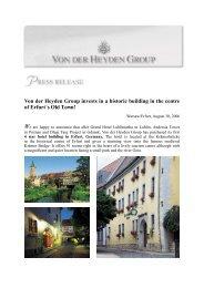 Von der Heyden Group invests in a historic building in the centre of ...