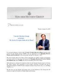 Von der Heyden Group welcomes Mr Javier Errejón Sainz de la Maza!