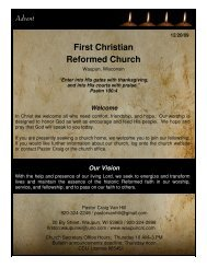Our Vision - First Christian Reformed Church