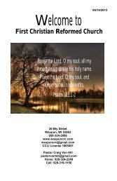 April 14 - First Christian Reformed Church