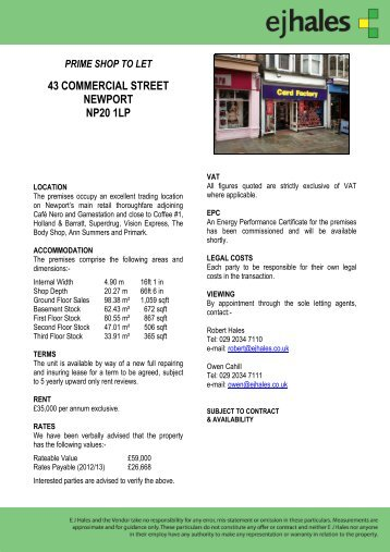 prime shop to let 43 commercial street newport np20 1lp - EJ Hales