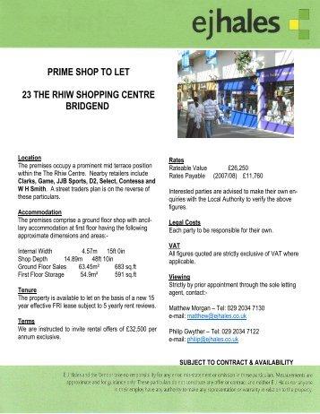 23 The Rhiw Centre Bridgend 5 10 07 Ej Hales