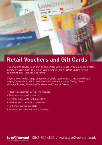 Retail Vouchers and Gift Cards - Love2reward