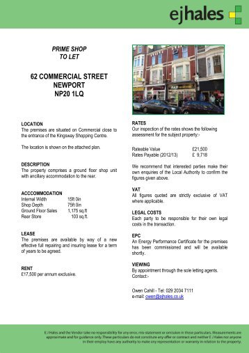 prime shop to let 62 commercial street newport np20 1lq - EJ Hales