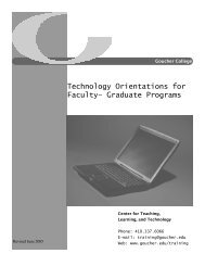 Technology Orientations for Faculty– Graduate ... - Goucher College