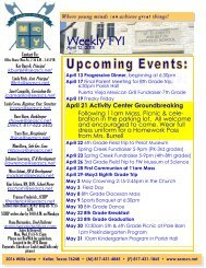Weekly FYI - St. Elizabeth Ann Seton Catholic School