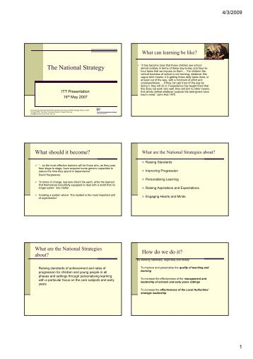 The National Strategy - Graduate School of Education