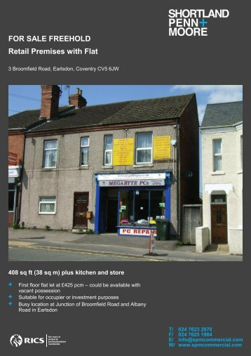 FOR SALE FREEHOLD Retail Premises with Flat