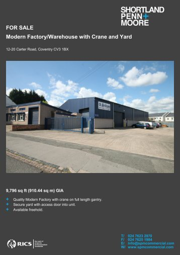 FOR SALE Modern Factory/Warehouse with Crane and Yard