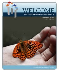 September 30, 2012 - Westminster Presbyterian Church