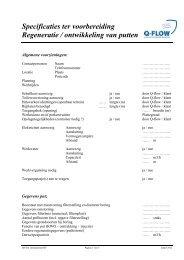 Specificaties ter voorbereiding Regeneratie / ontwikkeling van putten