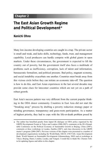 The East Asian Growth Regime and Political Development*