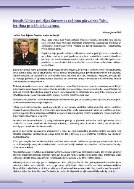 Talsu iecirkņa plāns 2010.- 2012.gadam - Valsts policija