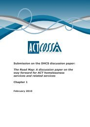 Submission on the DHCS discussion paper - ACT Council of Social ...