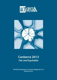 Canberra 2013 • Fair and Equitable - ACT Council of Social Service