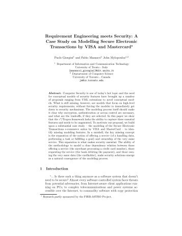 Requirement Engineering meets Security: A Case Study on ... - DISI