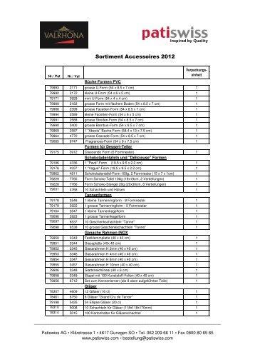 Sortiment Accessoires 2012 - Patiswiss AG
