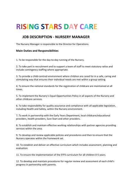 Rising Stars Day Care Job Description