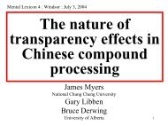 The nature of transparency effects in Chinese compound processing