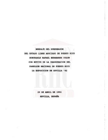 Mensaje con motivo de la Inauguración del Pabellón Nacional de ...