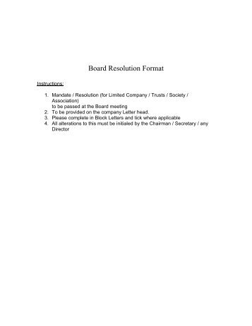 Board Resolution Format   HSBC