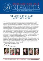 WELCOME BACK AND HAPPY NEW YEAR! - Broomwood Hall